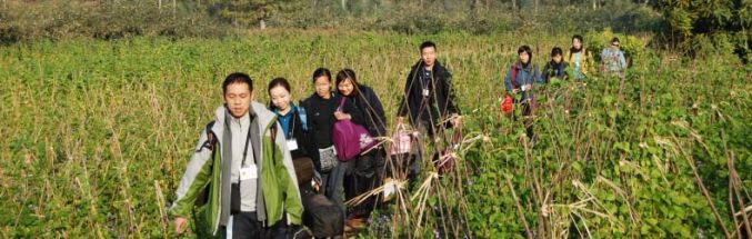 Datan-Team walking in the field