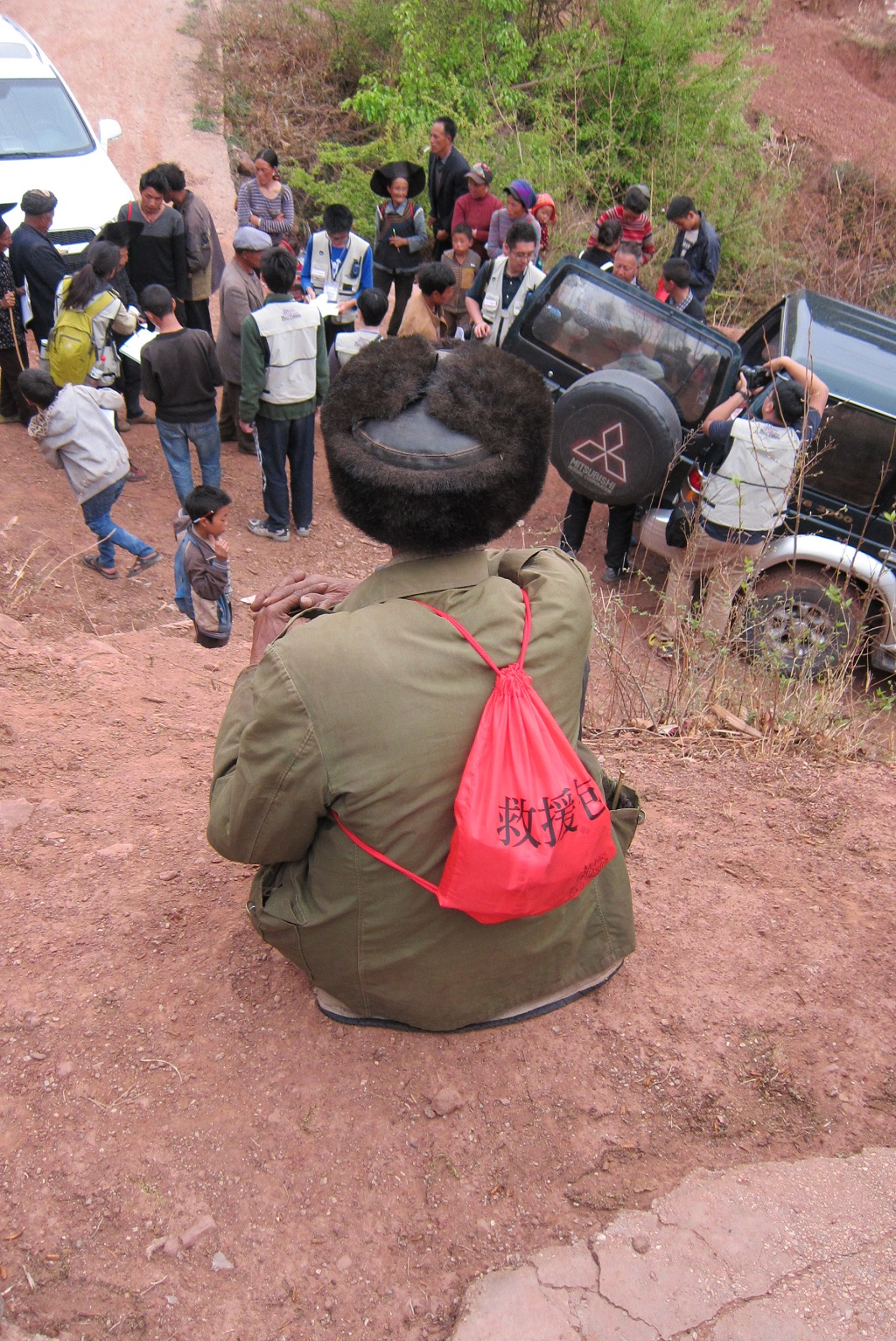A villager wearing the rescue bag